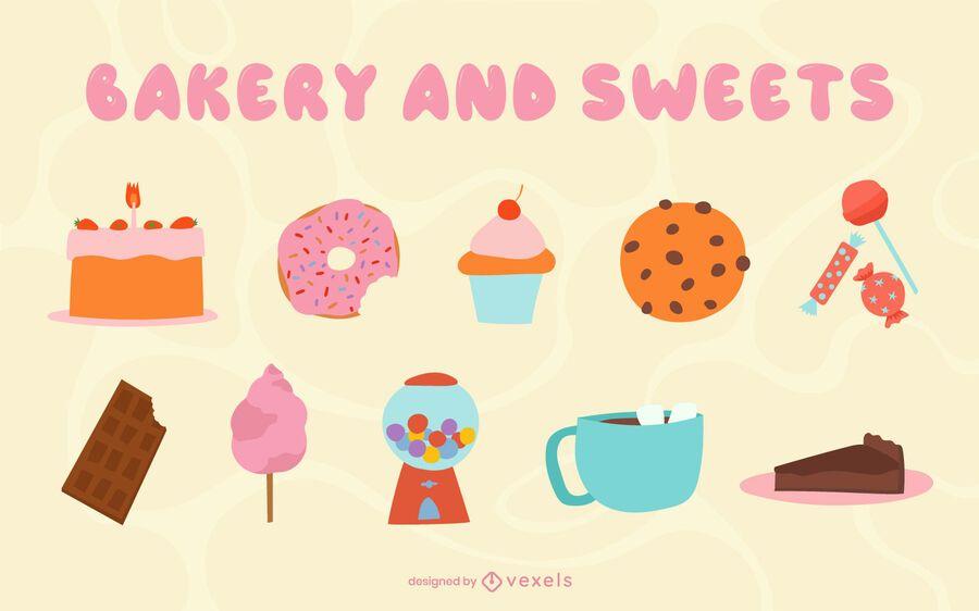 Conjunto plano de panadería y dulces.