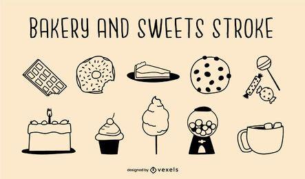 Conjunto de tacadas de padaria e doces