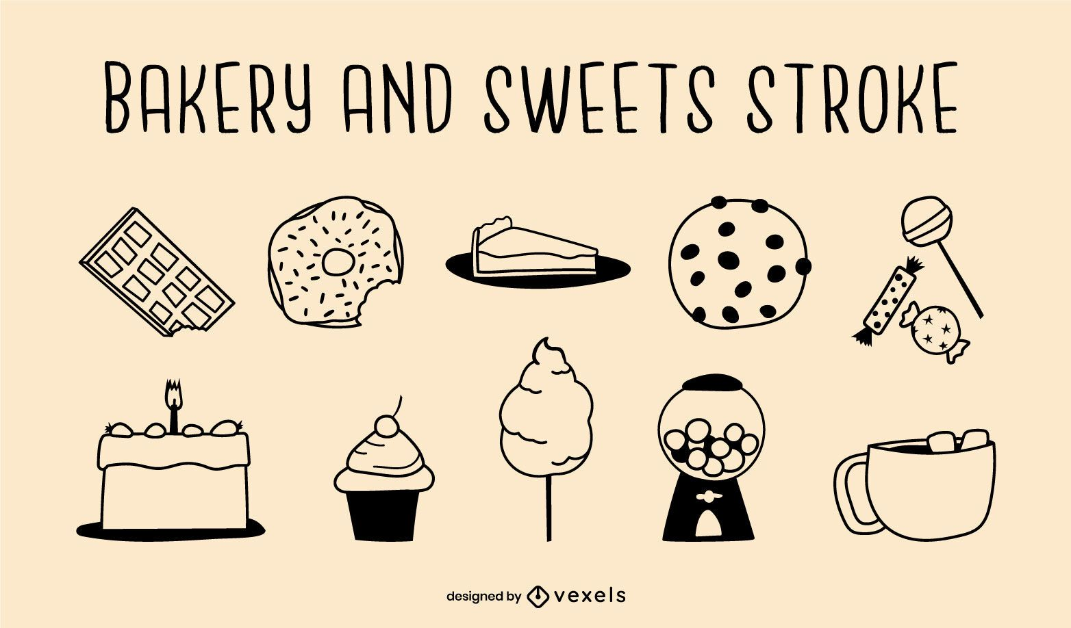 Bakery and sweets stroke set