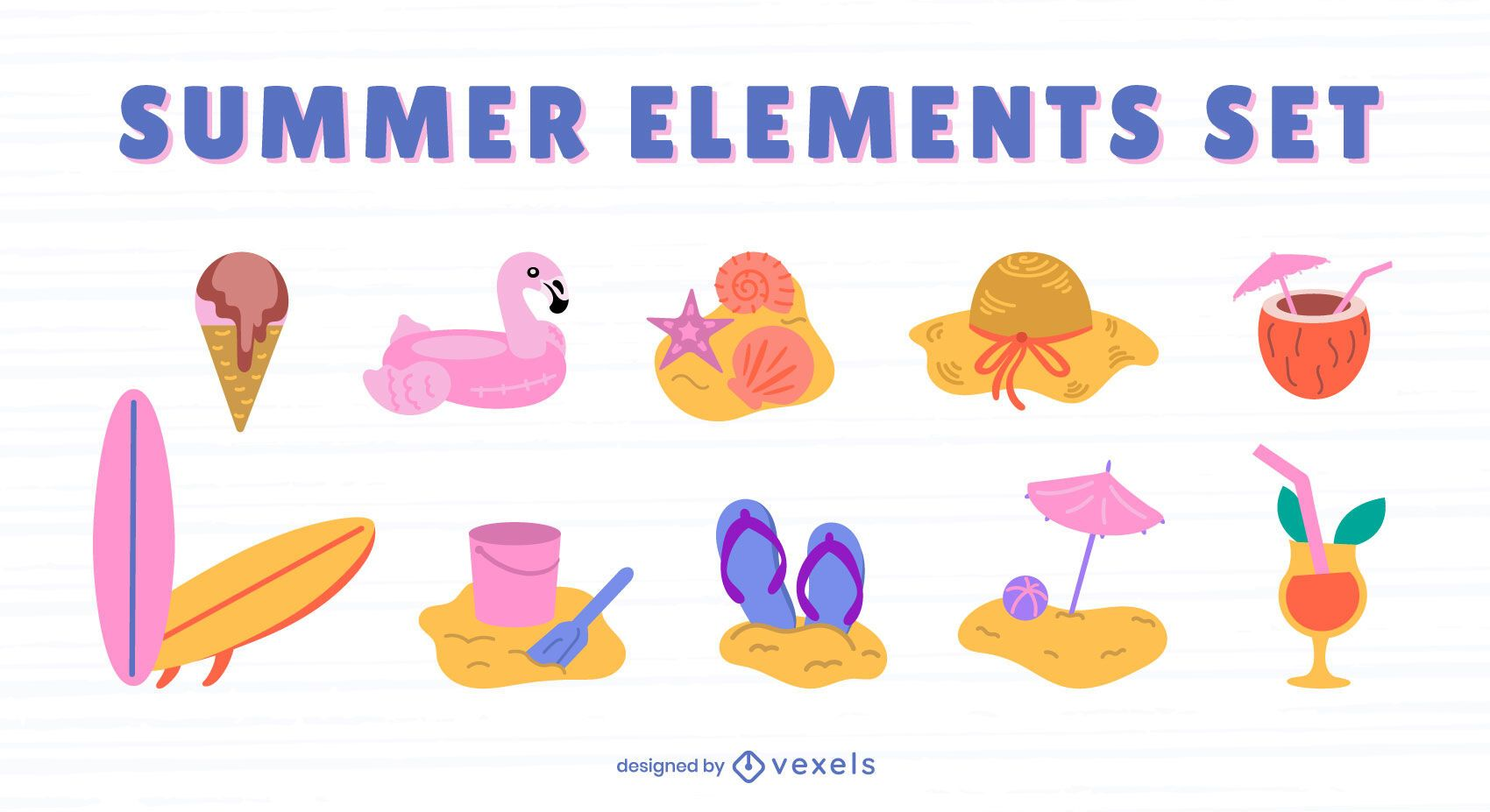 Summer flat elements set
