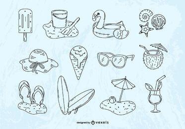 Conjunto de elementos dibujados a mano de verano