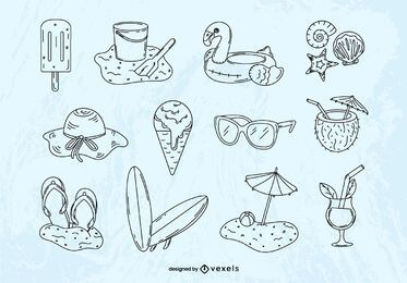 Summer hand-drawn elements set