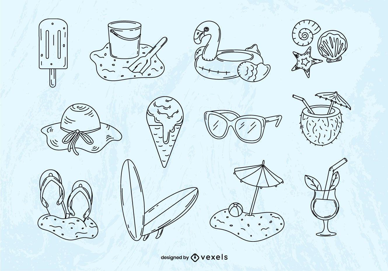 Summer hand-drawn elements set
