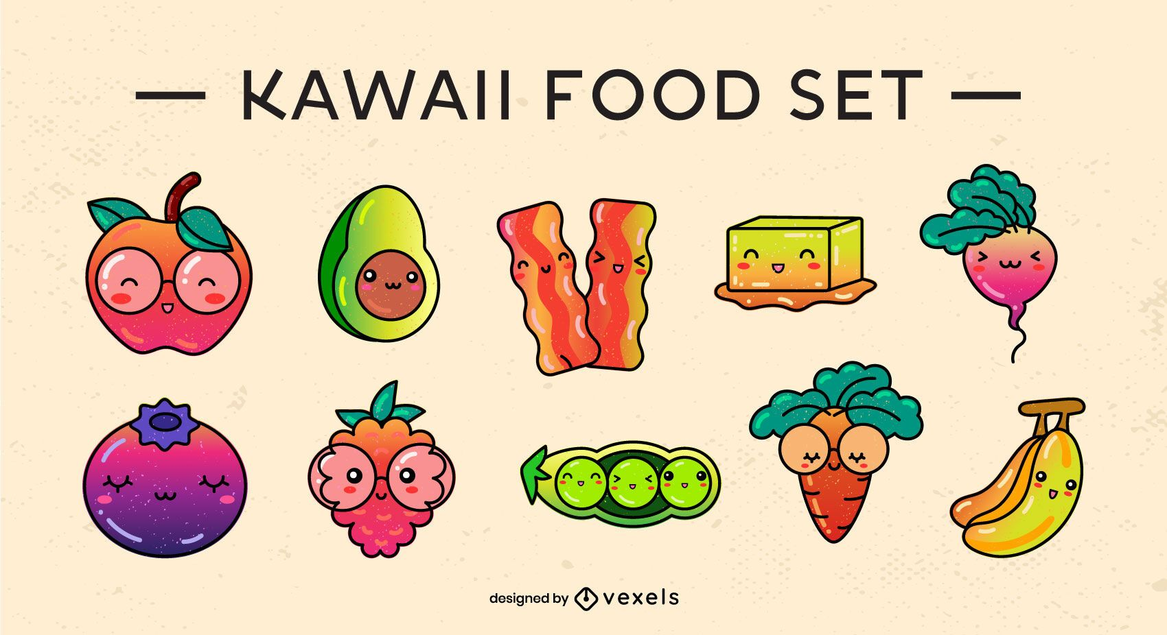 Kawaii food gradient set