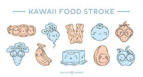 Conjunto de pinceladas de cor de comida Kawaii