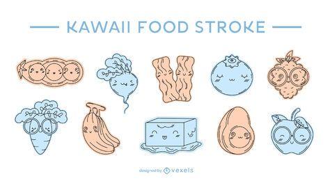 Kawaii Lebensmittelfarbe Strich gesetzt