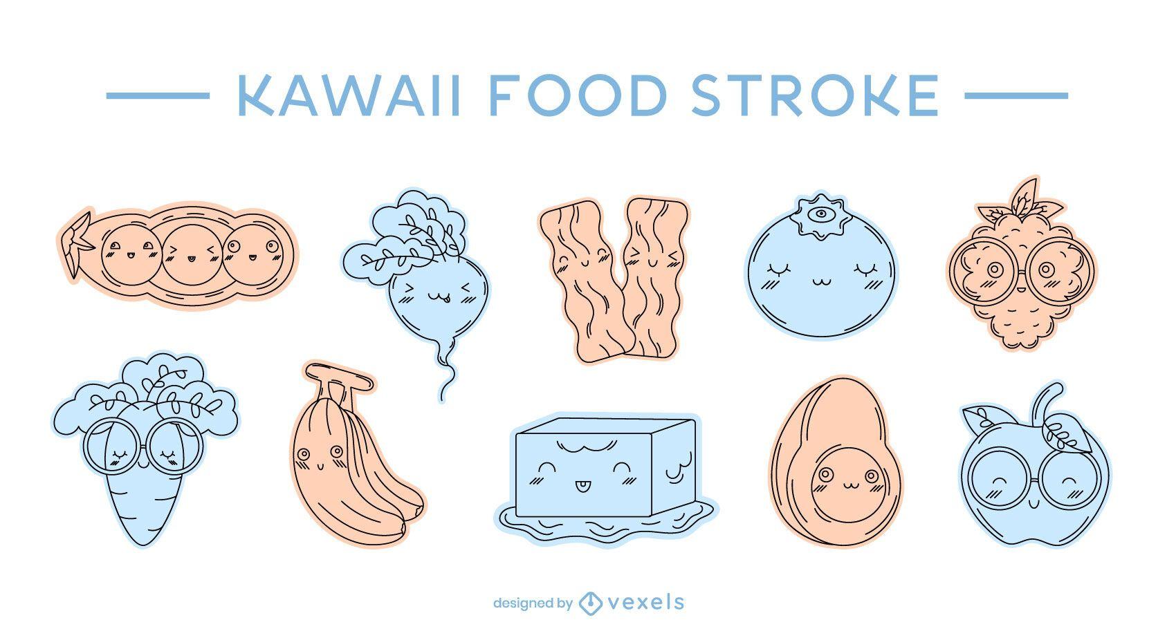 Conjunto de trazos de color de comida kawaii