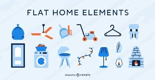 Home elements flat vector set