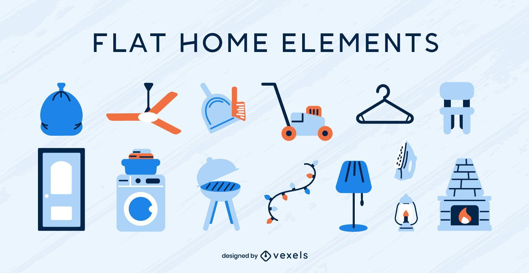 Conjunto de vector plano de elementos de hogar