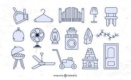 Conjunto de trazos de elementos para el hogar