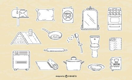 Conjunto de línea fina de elementos para el hogar