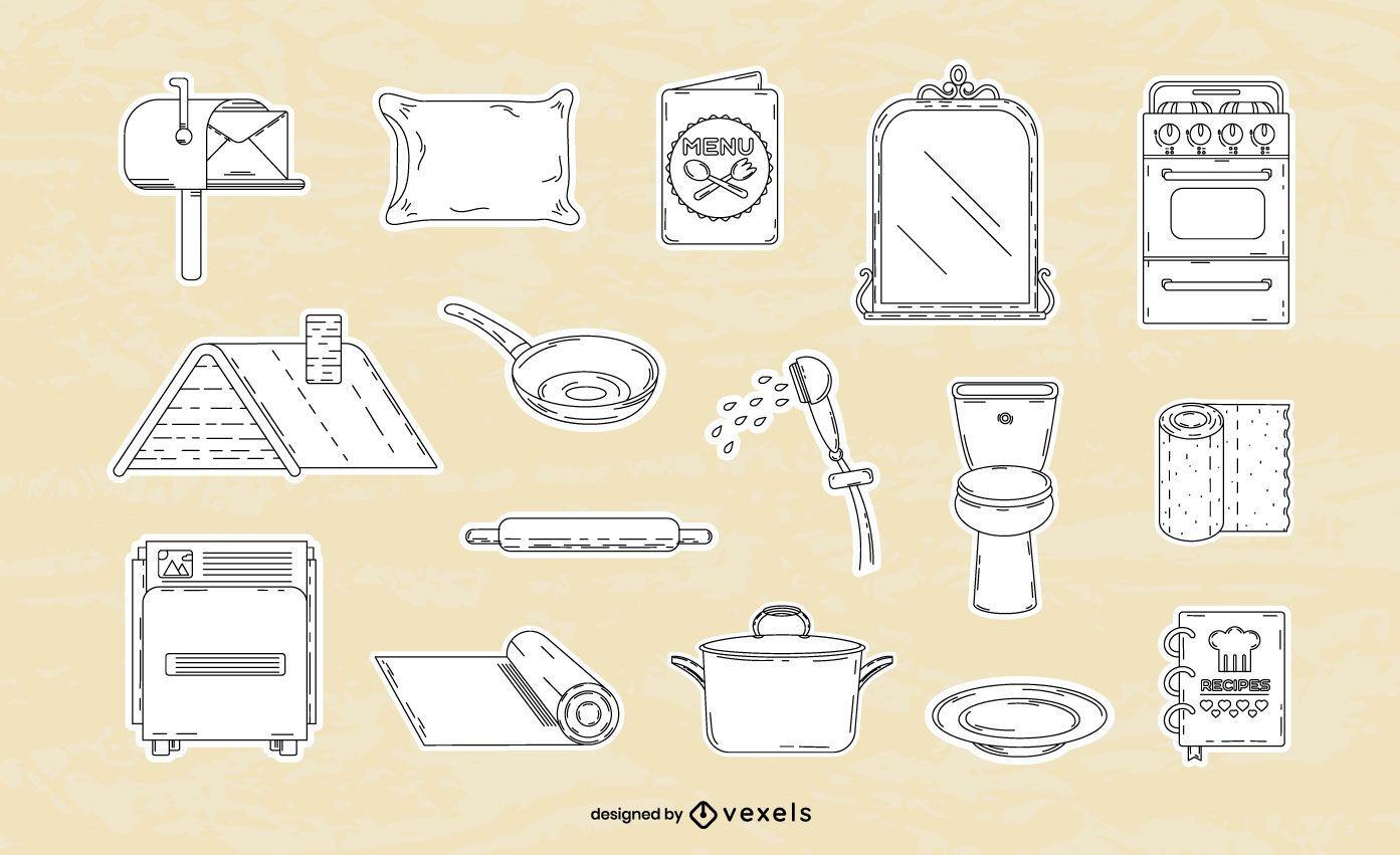 Conjunto de linhas finas de elementos domésticos