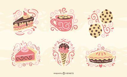Conjunto plano de doces e confeitaria