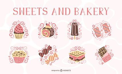 Sweets and bakery flat swirls set