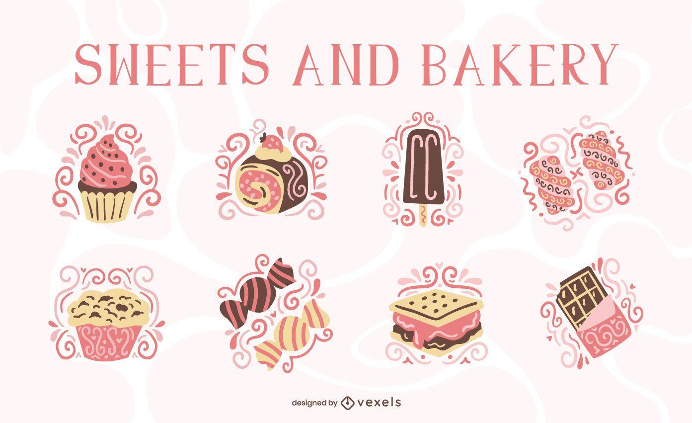 Conjunto de remolinos planos de dulces y panadería.