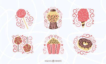 Conjunto plano de dulces y caramelos.