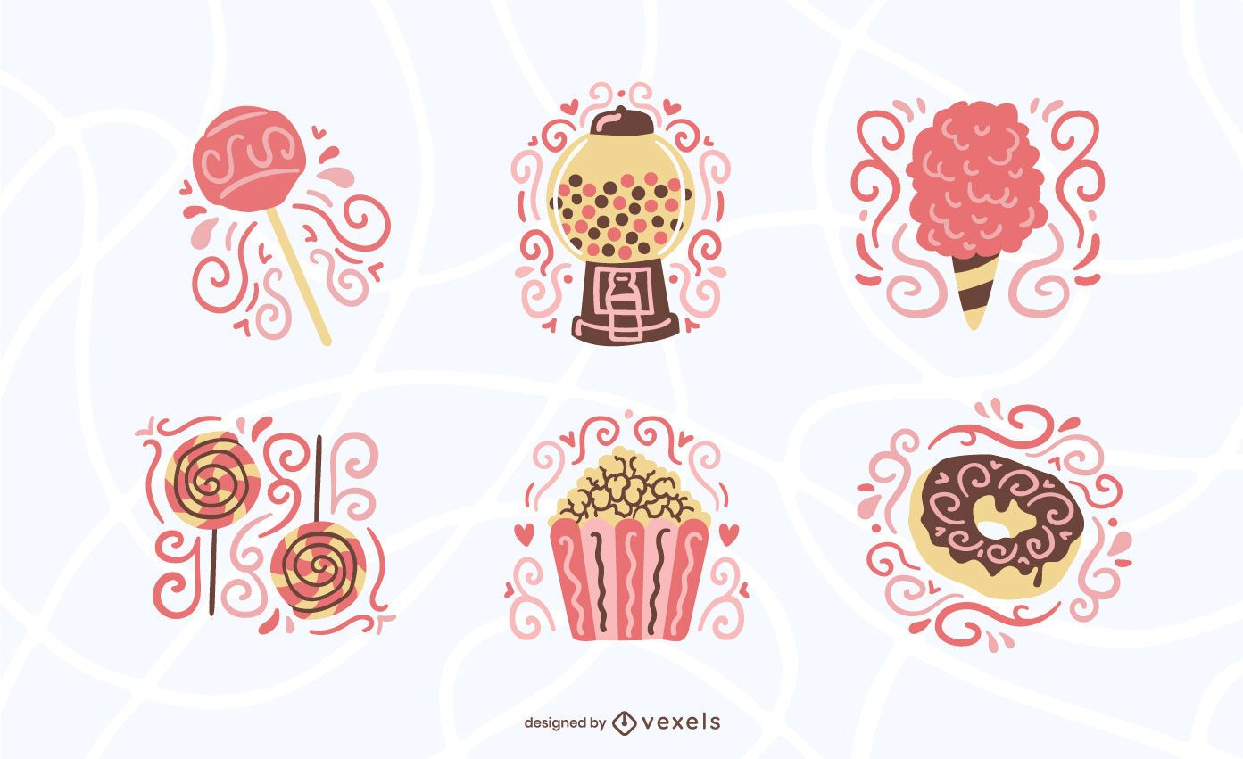Sweets and candy flat set