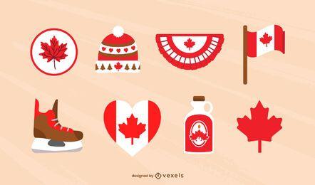 Conjunto plano de elementos canadienses