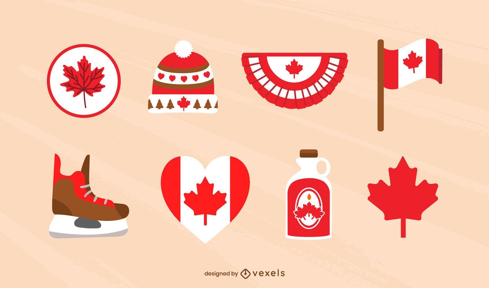 Canadian elements flat set