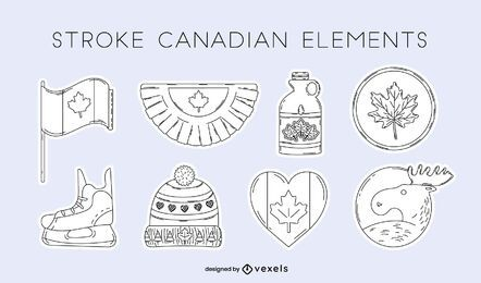 Canadian elements stroke set