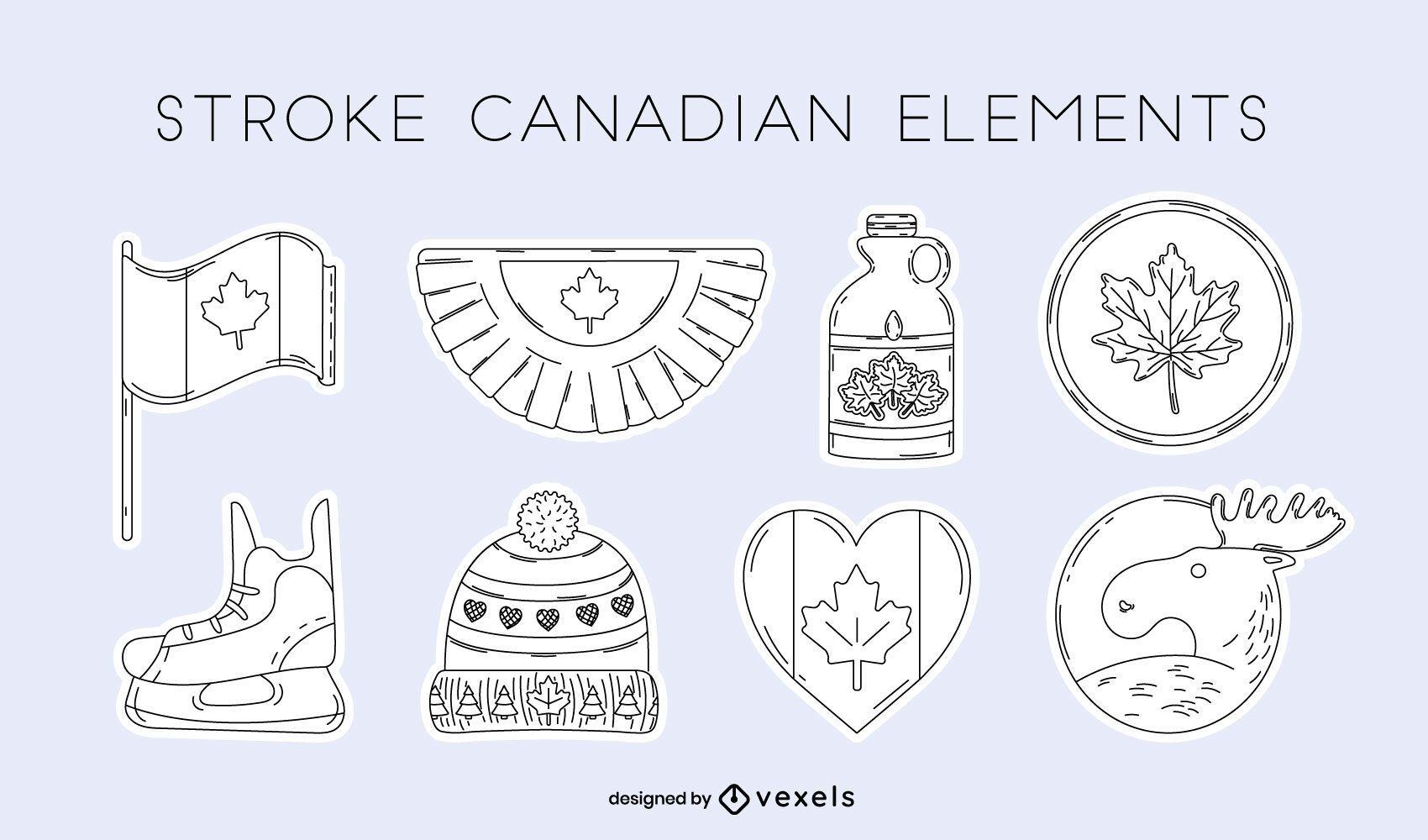 Conjunto de trazos de elementos canadienses