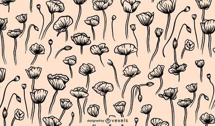 Desenho de padrão de flor de papoula