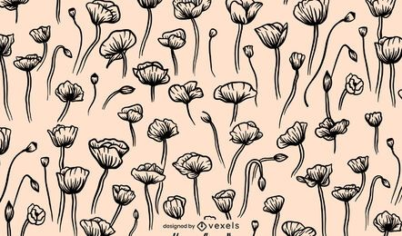Diseño de patrón de flor de amapola