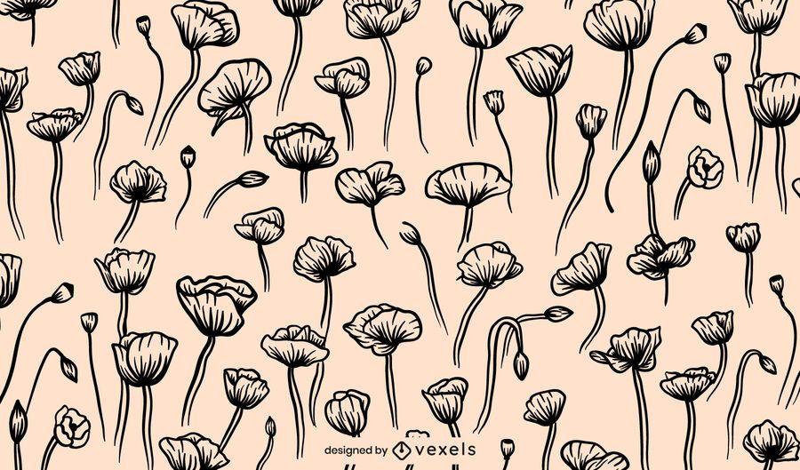 Poppy flower pattern design