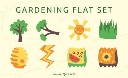 Conjunto plano de elementos de jardinería