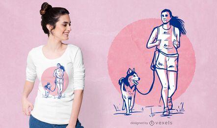 Diseño de camiseta de mujer y perro.