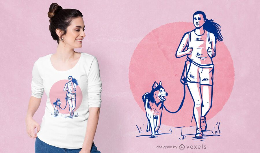 Woman and dog t-shirt design