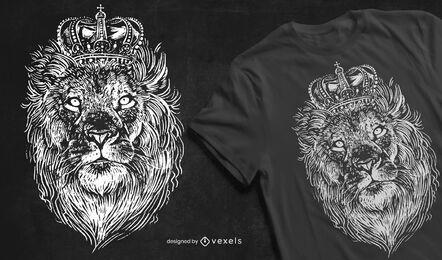 Diseño de camiseta de león coronado