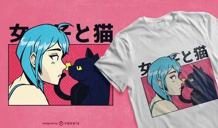 Diseño de camiseta de anime girl cat.