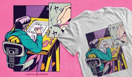 Desenho de t-shirt com desenho de mangá