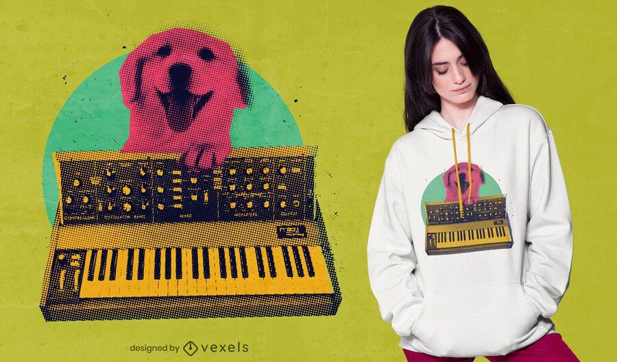 Dog playing keyboard t-shirt design