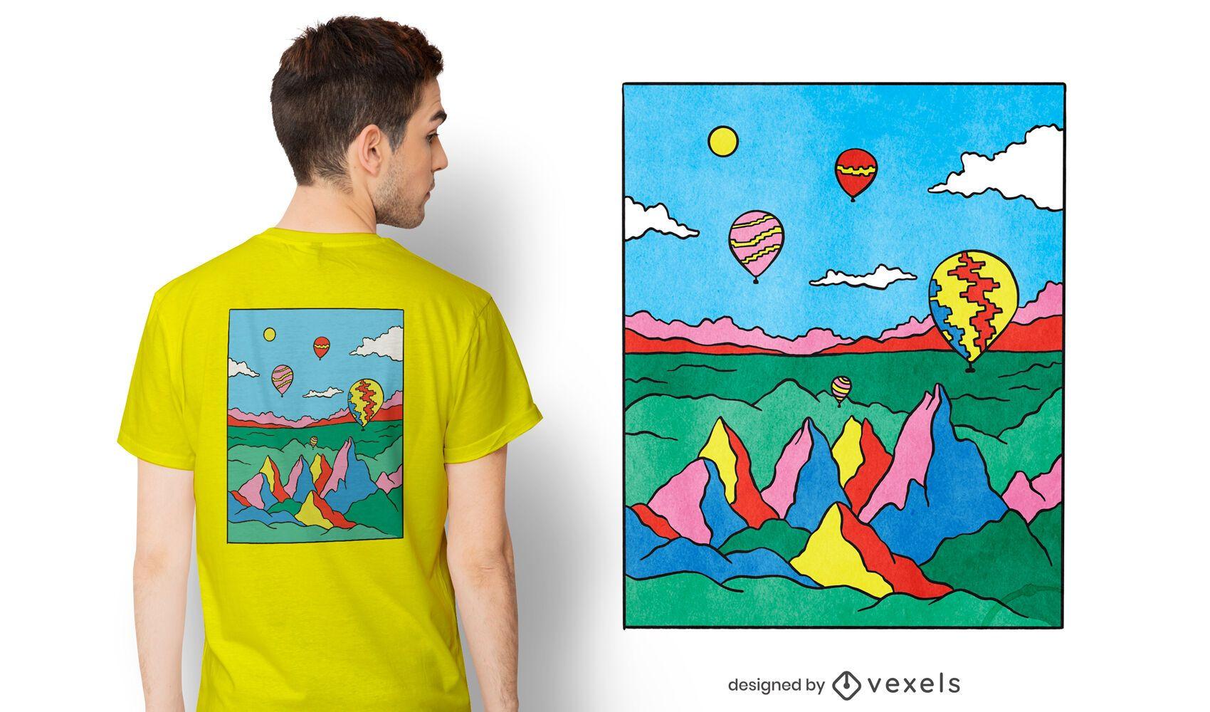 Diseño de camiseta colorida capadocia