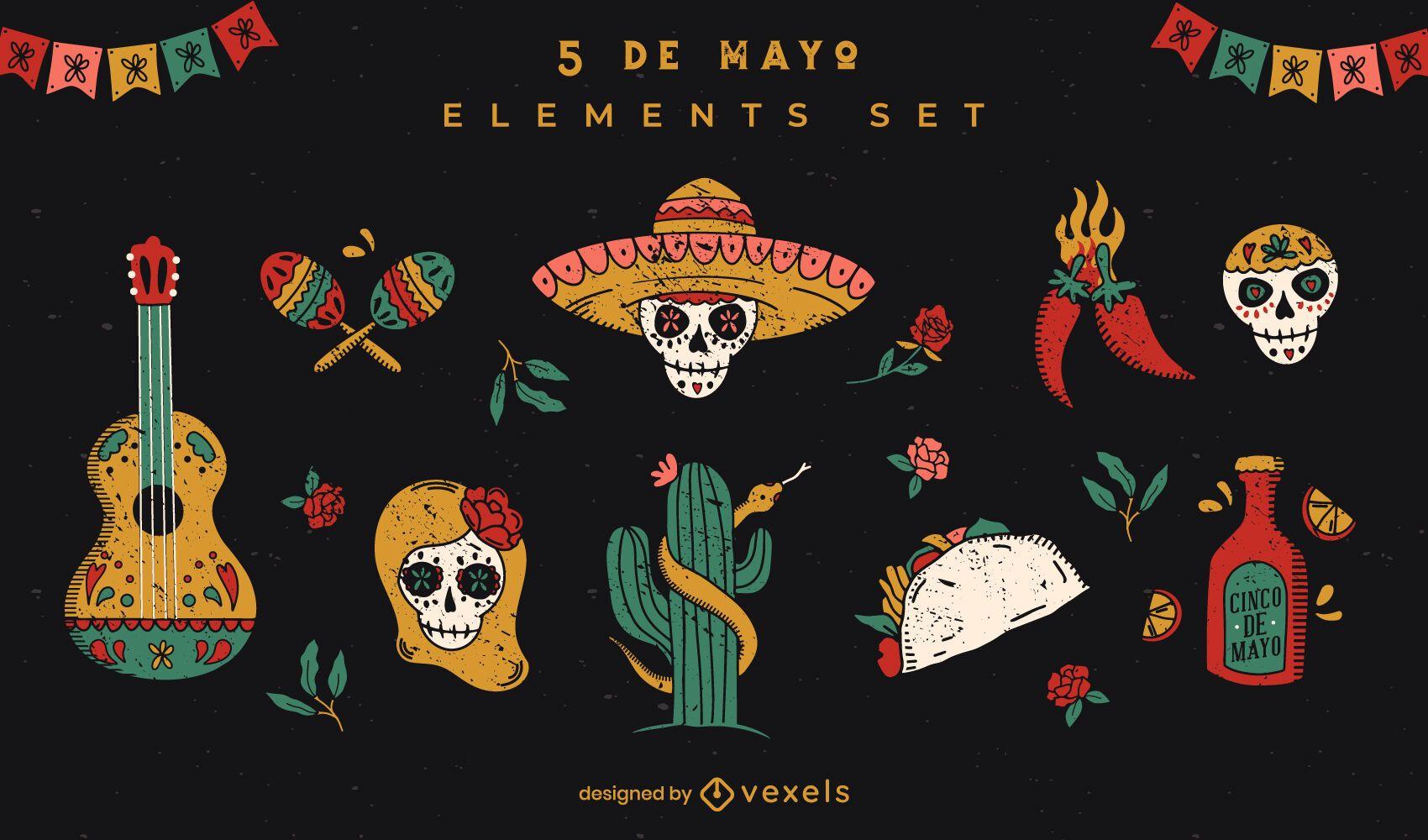 Conjunto de elementos cinco de mayo