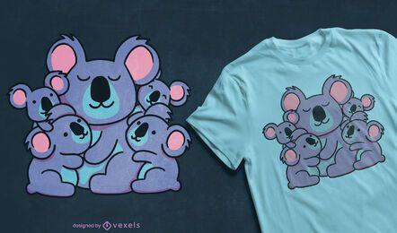 Lindo diseño de camiseta de la familia koala
