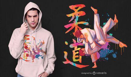 Diseño de camiseta de acuarela de judo.