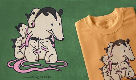 T-Shirt-Design der Opossum-Familie
