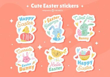 Cute easter sticker set