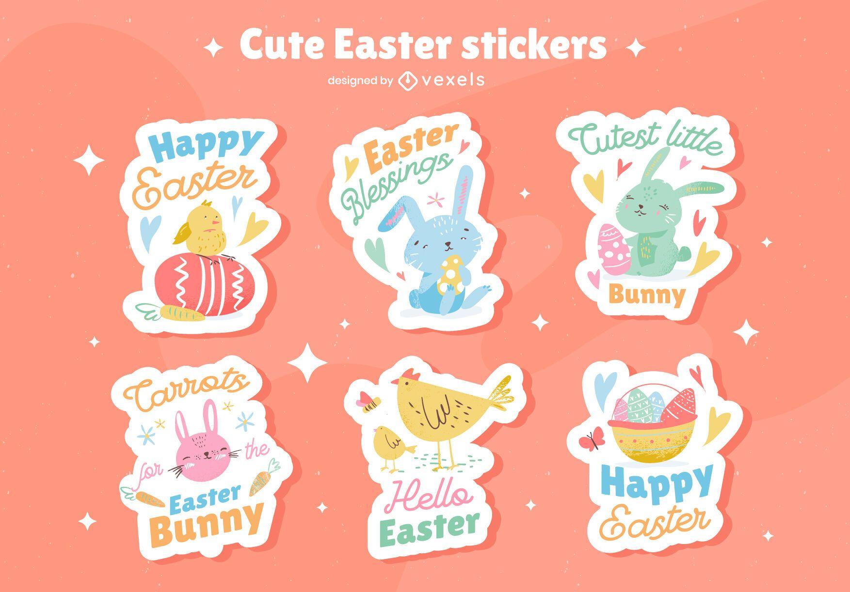 Cute easter sticker set