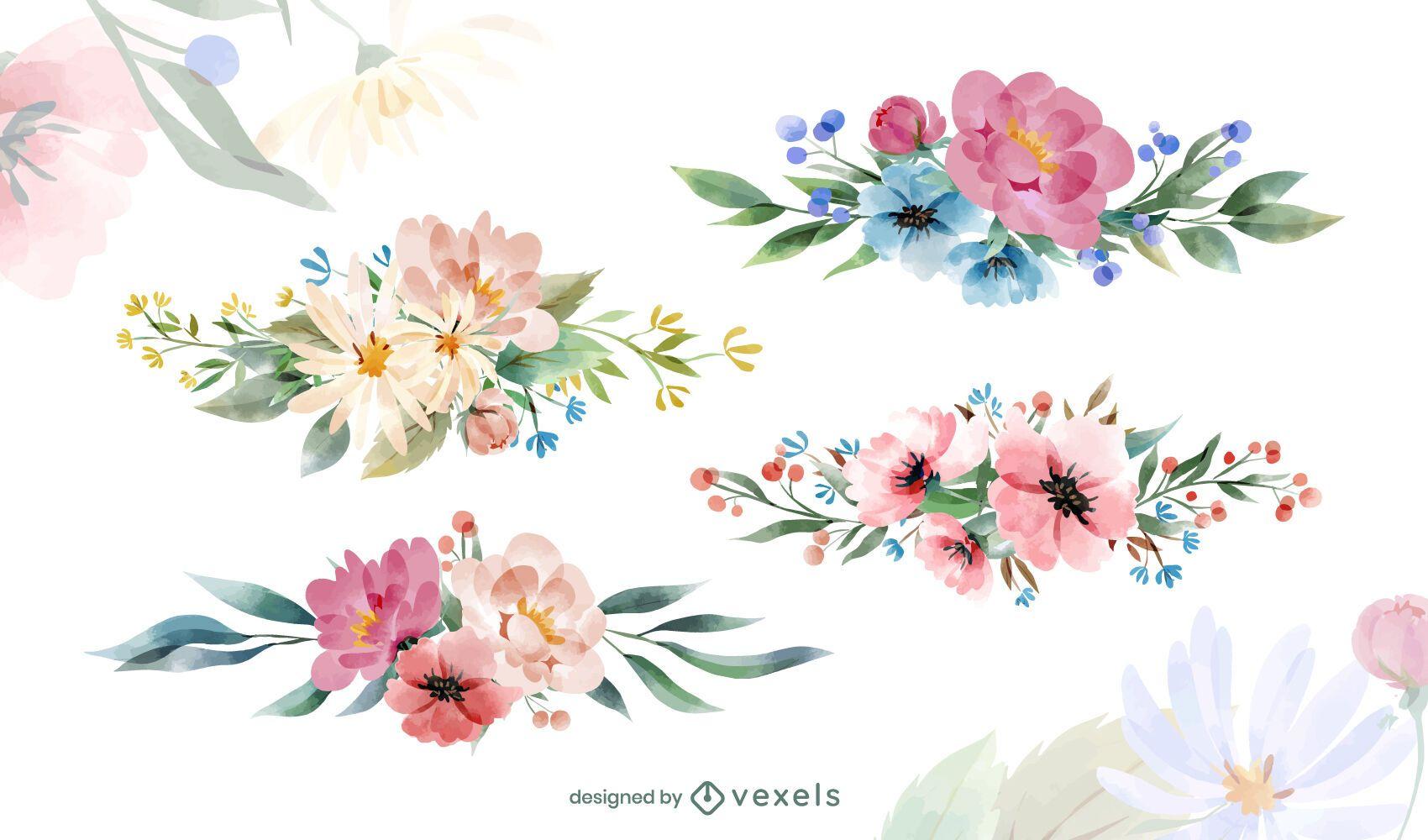 Conjunto de acuarela de arreglo floral