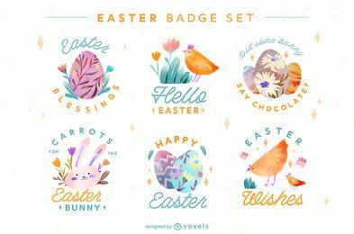 Hello easter badge set