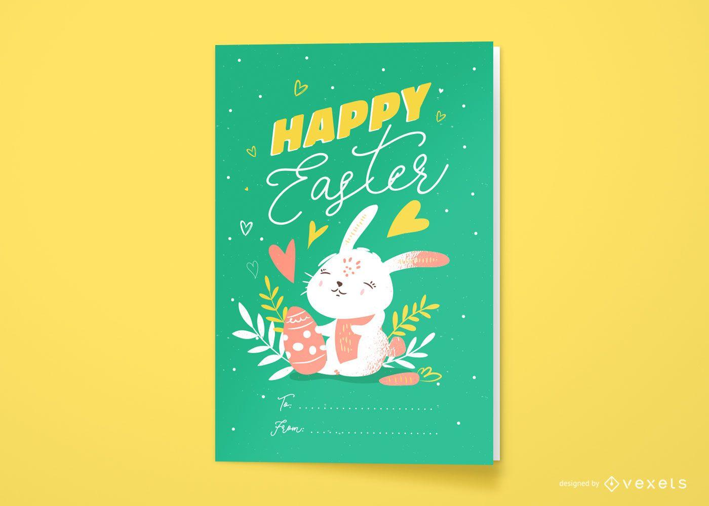 Diseño de tarjeta de felicitación de pascua feliz