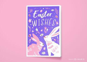 Diseño de tarjeta de felicitación de deseos de Pascua