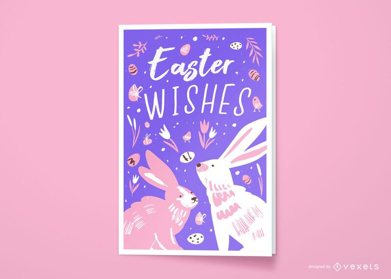 Easter wishes greeting card design