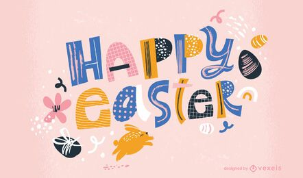 Happy easter retro lettering