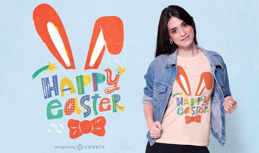 Diseño de camiseta feliz pascua