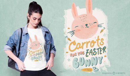 Diseño de camiseta de conejo de pascua de zanahorias.